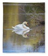 Mute Swan Reflection Fleece Blanket