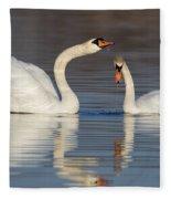 Mute Swans Drinking Fleece Blanket