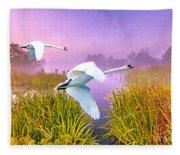 Mute Swans Over Marshes Fleece Blanket