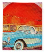 My Blue Corvette At The Orange Julep Fleece Blanket