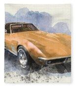 Orange Dream Car Fleece Blanket