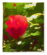 My Love Is Like  A Red Red Rose Of Sharon Fleece Blanket
