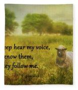 My Sheep Hear My Voice Fleece Blanket