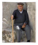 Mykonos Man With Walking Stick Fleece Blanket