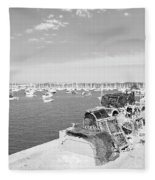 Mylor Quay In Cornwall Monochrome Fleece Blanket