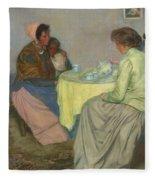 Myron G. Barlow 1873 - 1937 Dutch Women Drinking Coffee Fleece Blanket