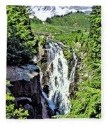 Myrtle Falls And Mount Rainier Fleece Blanket