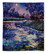 Mysterious Blue Pond Fleece Blanket