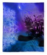 Mystic Poppy Blue Purple  Fleece Blanket