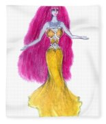 Mzia Meisouri. Beauty Girl From Space Fleece Blanket