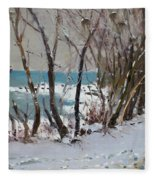Naked Trees By The Lake Shore Fleece Blanket