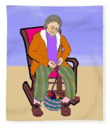 Nana Knitting Fleece Blanket
