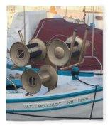 Naoussa Boat Paros Island Greece  Fleece Blanket