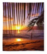 Napili Bay Sunset Maui Hawaii Fleece Blanket