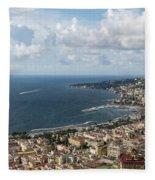 Naples Italy Aerial Perspective - Coastal Beauty Of Mergellina, Posillipo And Marechiaro Fleece Blanket