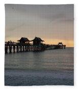 Naples Pier - Golden Hour At The Pier Fleece Blanket