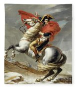 Napoleon Crossing The Alps, Jacques Louis David, From The Original Version Of This Painting  Fleece Blanket