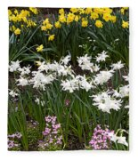 Narcissus And Daffodils In A Spring Flowerbed Fleece Blanket
