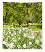 Narcissus In Apple Garden Fleece Blanket