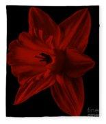 Narcissus Red Flower Square Fleece Blanket