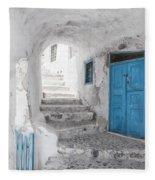 Narrow Alley And Stairway On Santorini Fleece Blanket