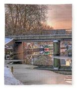 Narrow Boats Under The Bridge Fleece Blanket