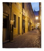 Narrow Street In Old Town Of Wroclaw In Poland Fleece Blanket
