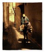 Narrow Streets Fes Male Donkey  Fleece Blanket