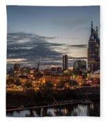 Nashville Broadway Street Shelby Street Bridge Downtown Cityscape Art Fleece Blanket