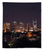 Nashville Cityscape 2 Fleece Blanket