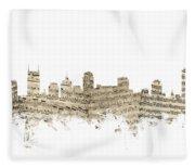 Nashville Tennessee Skyline Sheet Music Fleece Blanket
