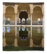 Nasrid Palace Arches Reflection At The Alhambra Granada Fleece Blanket