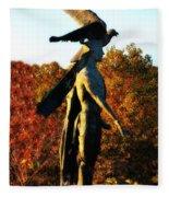 Native American And Eagle Fleece Blanket