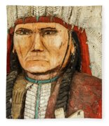 Native American Chief With Pipe Fleece Blanket
