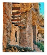Native American Cliff Dwellings Fleece Blanket