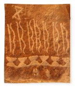 Native American Petroglyph On Orange Sandstone Fleece Blanket