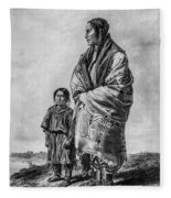 Native American Squaw And Child Fleece Blanket