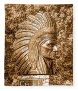 Native American Statue Copper  Fleece Blanket