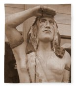 Native American Statue In Toppenish Fleece Blanket
