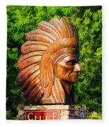 Native American Statue Fleece Blanket