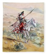 Native American Warrior Fleece Blanket
