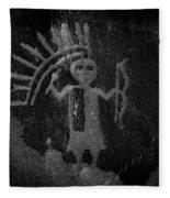 Native American Warrior Petroglyph On Sandstone Fleece Blanket