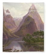 Native Figures In A Canoe At Milford Sound Fleece Blanket