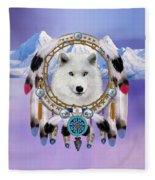 Native Indian Wolf Spirit Fleece Blanket