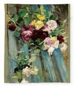 Natura Morta Con Rose Giovanni Boldini Fleece Blanket