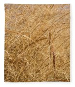 Natural Abstracts - Elaborate Shapes And Patterns In The Golden Grass Fleece Blanket