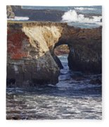 Natural Bridge At Point Arena Fleece Blanket