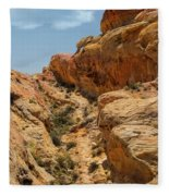 Natural Staircase Valley Of Fire Fleece Blanket