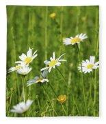 Nature Spring Scene White Wild Flowers Fleece Blanket