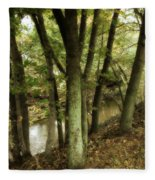 Nature Walk Along The Stream Fleece Blanket